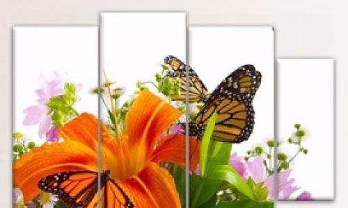 МК-047 Бабочки и лилии на белом